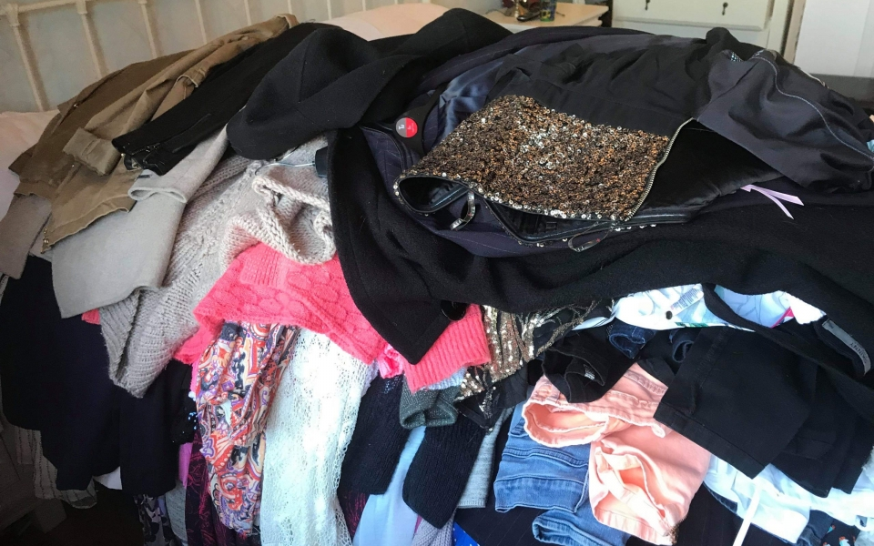 before; clothes; pile; wardrobe