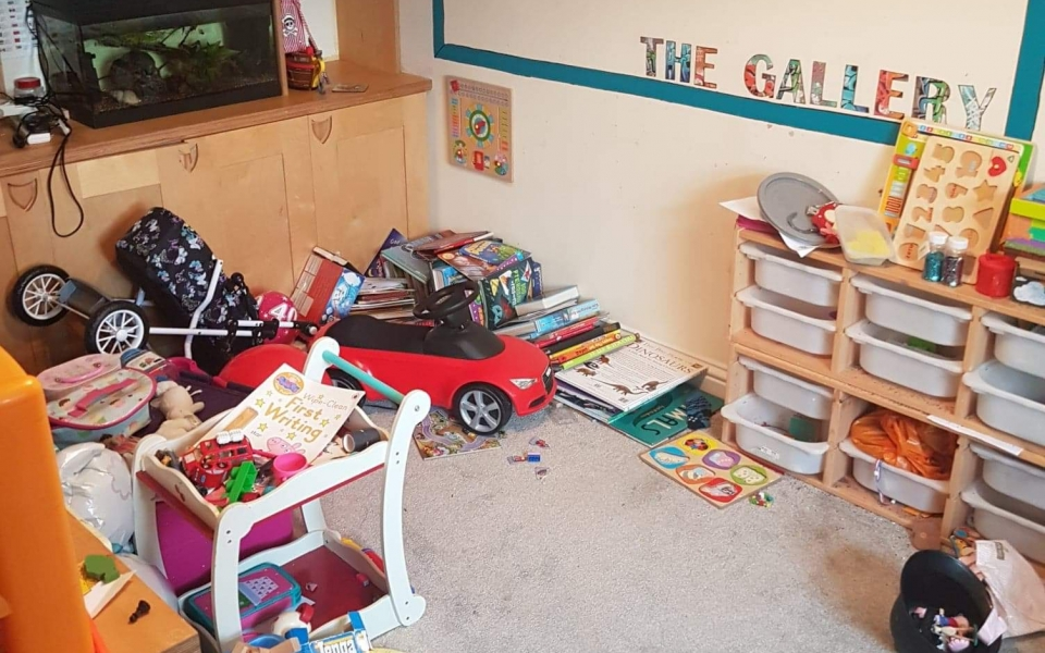 Day 1;  toys, playroom; before